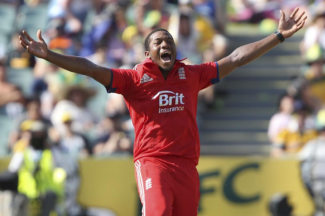 England's Chris Jordan celebrates the wicket of Australia's Nathan Coulter-Nile during their One Day International cricket match in Adelaide, Australia, Sunday, Jan. 26, 2014