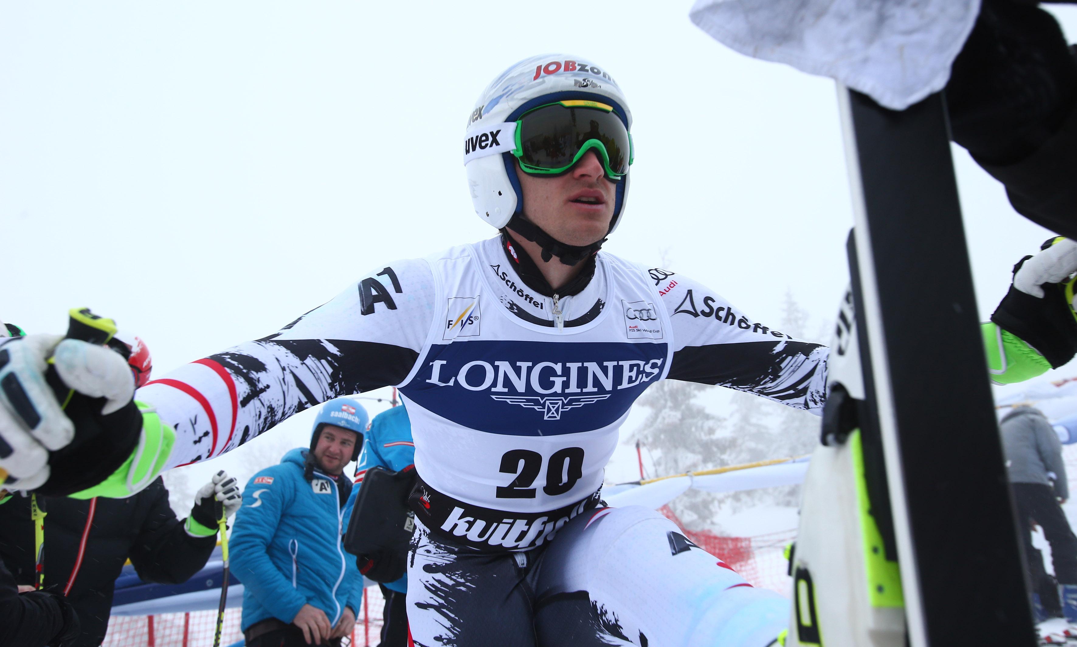 Downhill's  olympic champion Austria's Matthias Mayer  prepares before the start  an alpine ski, men's World Cup downhill training, in Kviitfjell, Norway, Friday, Feb. 28 , 2014
