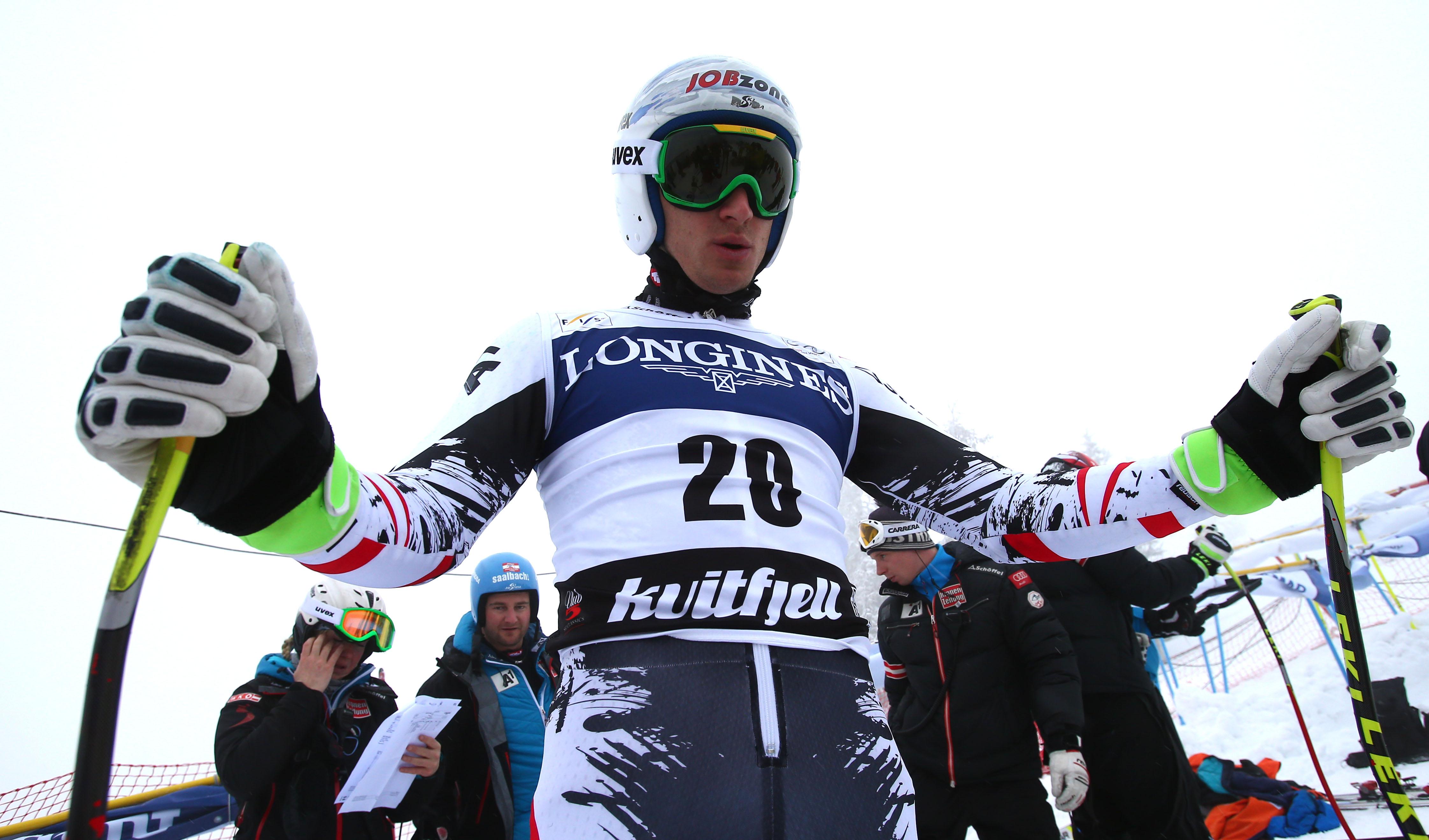 Austria's Matthias Mayer  prepares before the start  an alpine ski, men's World Cup downhill training, in Kviitfjell, Norway, Friday, Feb. 28 , 2014