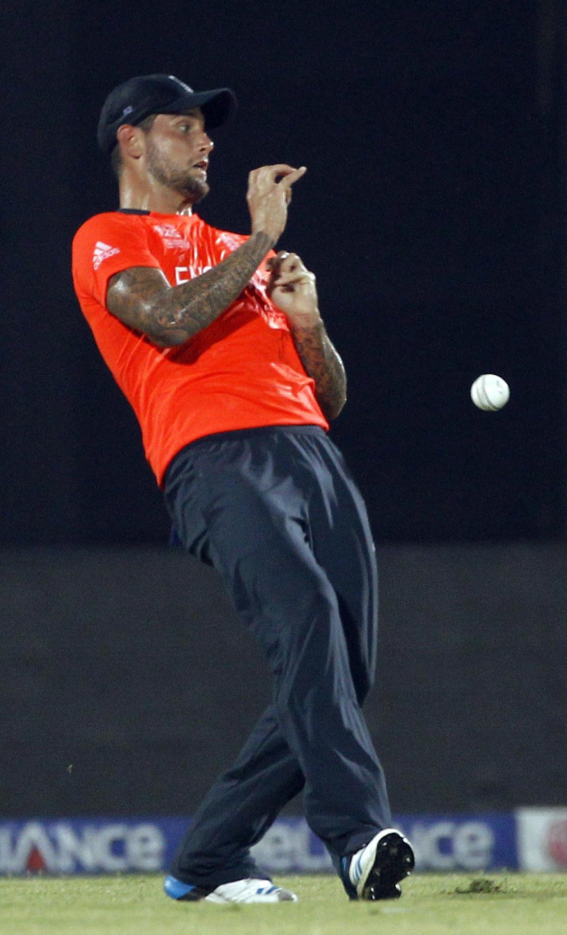 England's Jade Dernbach drops a ball off Sri Lankan cricketer Mahela Jayawardena's shot during their ICC Twenty20 Cricket World Cup match in Chittagong, Bangladesh, Thursday, March 27, 2014