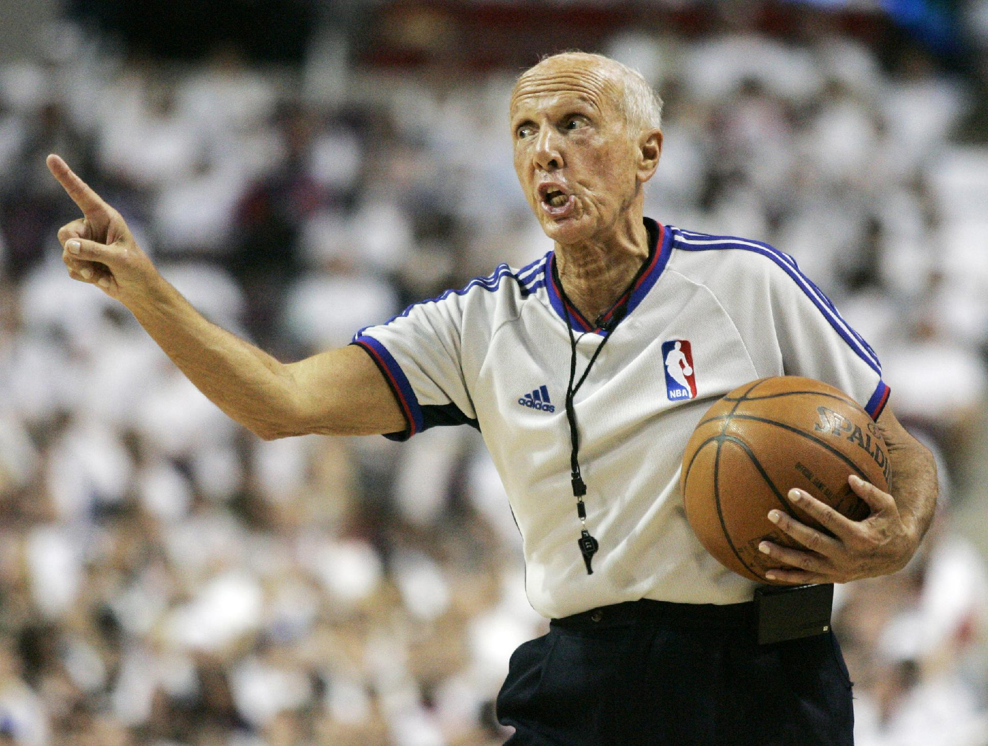 In this May 24, 2008, file photo, NBA referee Dick Bavetta makes a point during the second quarter of Game 3 of the NBA basketball Eastern Conference finals between the Boston Celtics and the Detroit Pistons in Auburn Hills, Mich. Bavetta is retiring after a 39-year career in which he never missed an assignment. NBA president Rod Thorn says Tuesday, Aug. 19, 2014, in a statement that the league is