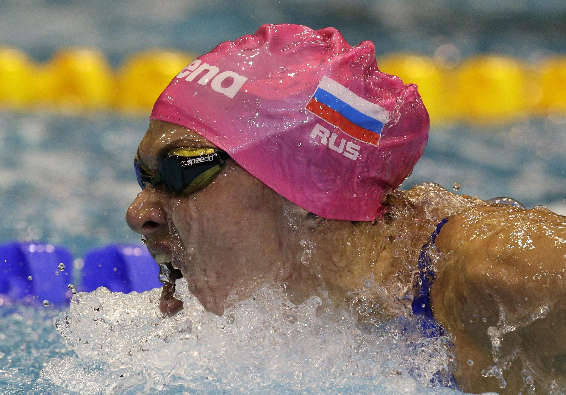 Russia's Yana Martynova competes in a women's 200m butterfly heat at the LEN Swimming European Championships in Berlin, Germany, Saturday, Aug. 23, 2014