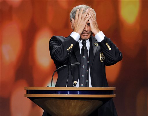 Golfer  Fred Couples becomes emotional as he speaks during his induction into the World Golf Hall of Fame on Monday, May 6, 2013, in St. Augustine, Fla