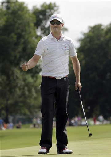 In this May 27, 2012, file photo, Zach Johnson pumps his fist after winning the Colonial golf tournament in Fort Worth, Texas. Johnson has won two of the last three Colonials. A trip to Hogan's Alley may be just what he needs. Johnson, who doesn't have a top-10 finish this season, is the only golfer in three decades with four consecutive top 10s at Colonial