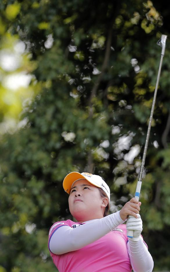 Inbee Park of South Korea looks on after playing on the second hole during the second round of the Evian Championship women's golf tournament in Evian, eastern France, Saturday, Sept. 14, 2013