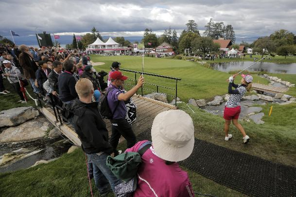 Momoko Ueda plays on the 18th hole during the last round of the Evian Championship women's golf tournament in Evian, eastern France, Sunday, Sept. 15, 2013