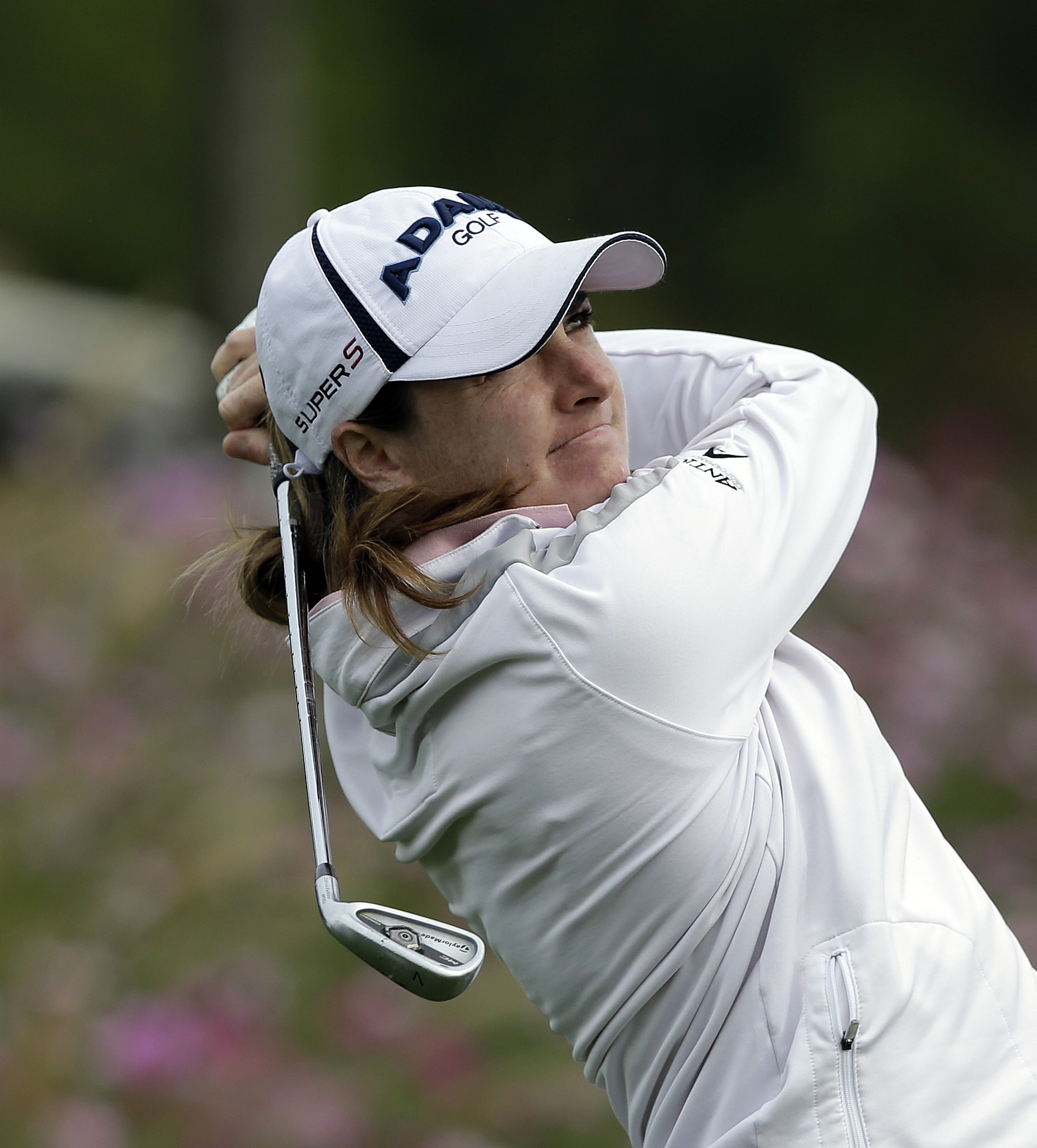 Alison Walshe of the United States watches her shot on the third hole during the second round of the KEB Hana Bank Championship golf tournament at Sky72 Golf Club in Incheon, west of Seoul, South Korea, Saturday, Oct. 19, 2013