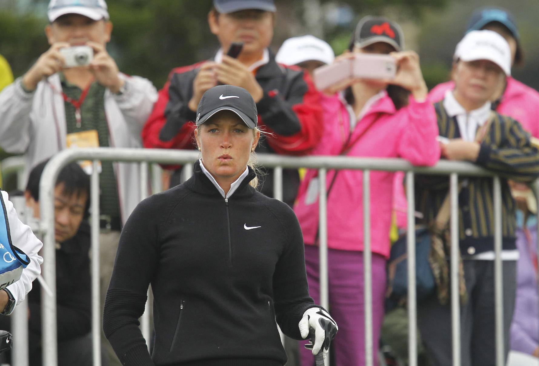 Suzann Pettersen of Norway, prepares to tee off on the 1st hole during the second round of the Sunrise LPGA Taiwan Championship tournament at the Sunrise Golf & Country Club, Friday, Oct. 25, 2013, in Yangmei, north eastern Taiwan