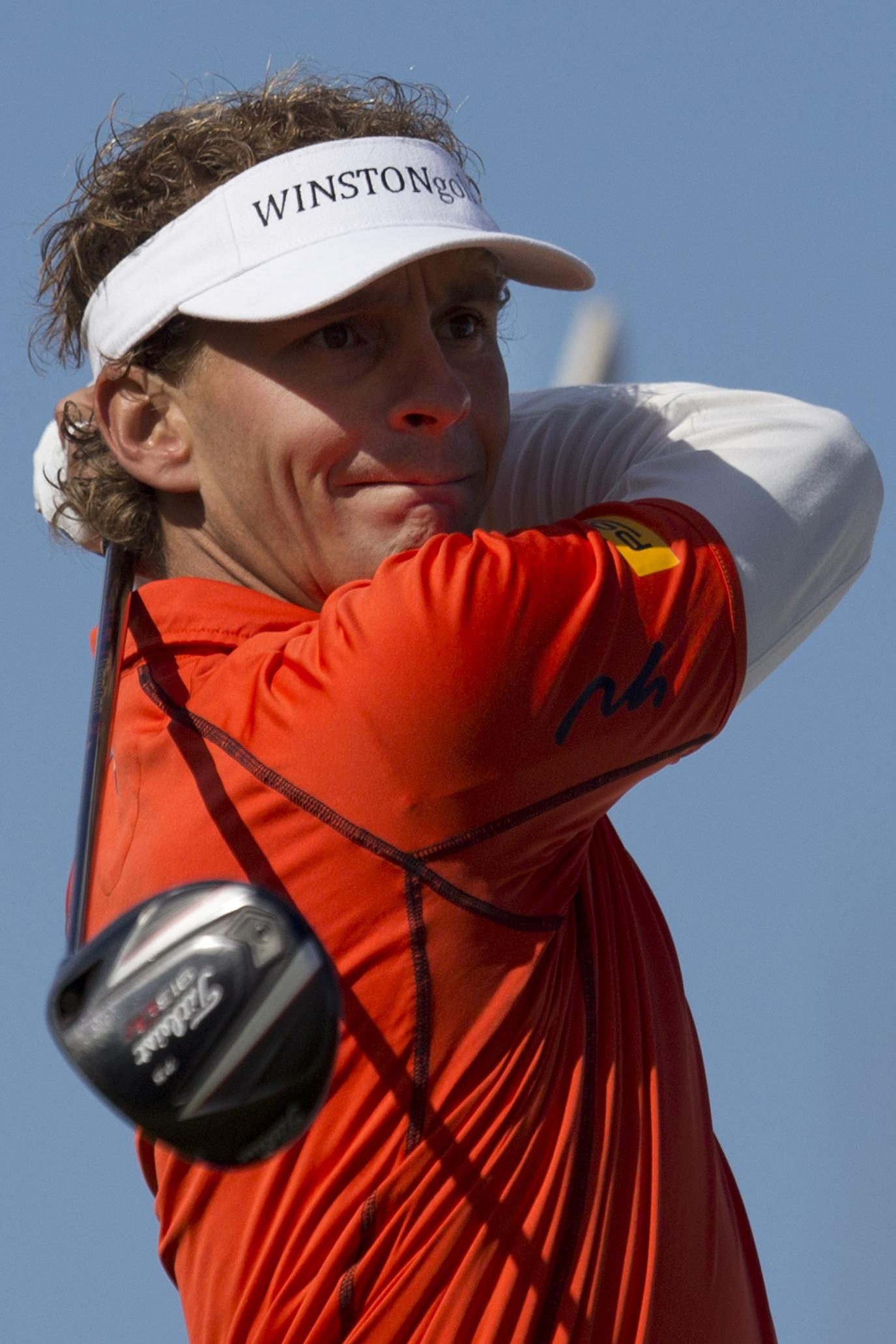 Netherlands' Joost Luiten tees off on hole two during the final round of the KLM Open men's golf tournament in the beach resort of Zandvoort, western Netherlands, Sunday, Sept. 15, 2013