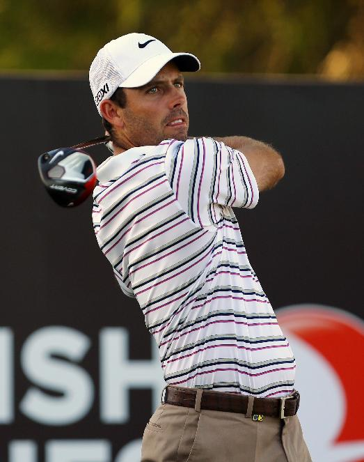 Charl Schwartzel of South Africa plays a shot from the 18th tee during the second round of the Turkish Open golf tournament at the Montgomerie Maxx Royal Course in Antalya, Turkey, Friday, Nov. 8, 2013
