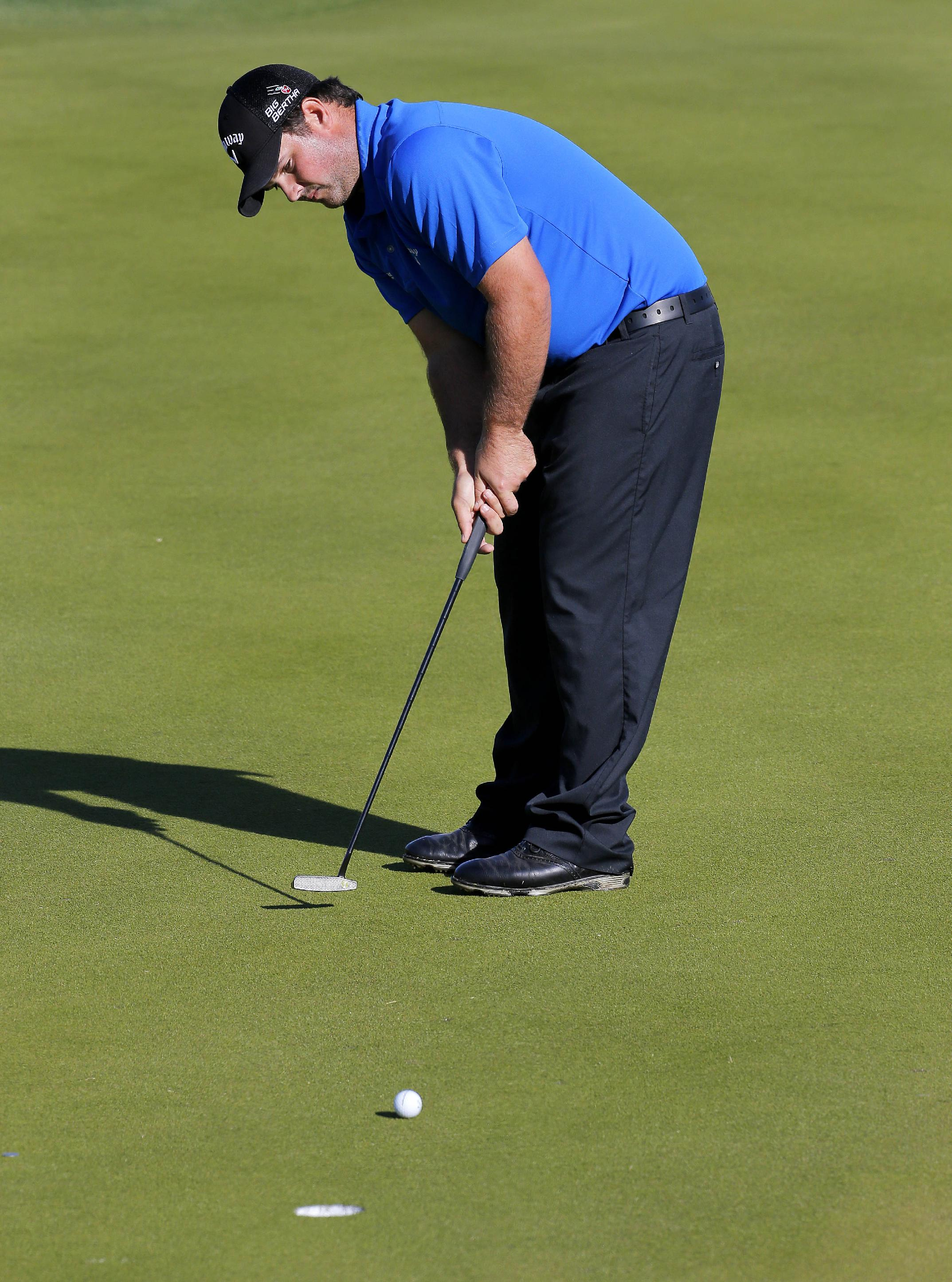 Patrick Reed putts for birdie on the 14th green during the third round of the Humana Challenge PGA golf tournament on the Nicklaus Private course at PGA West, Saturday, Jan. 18, 2014, in La Quinta, Calif