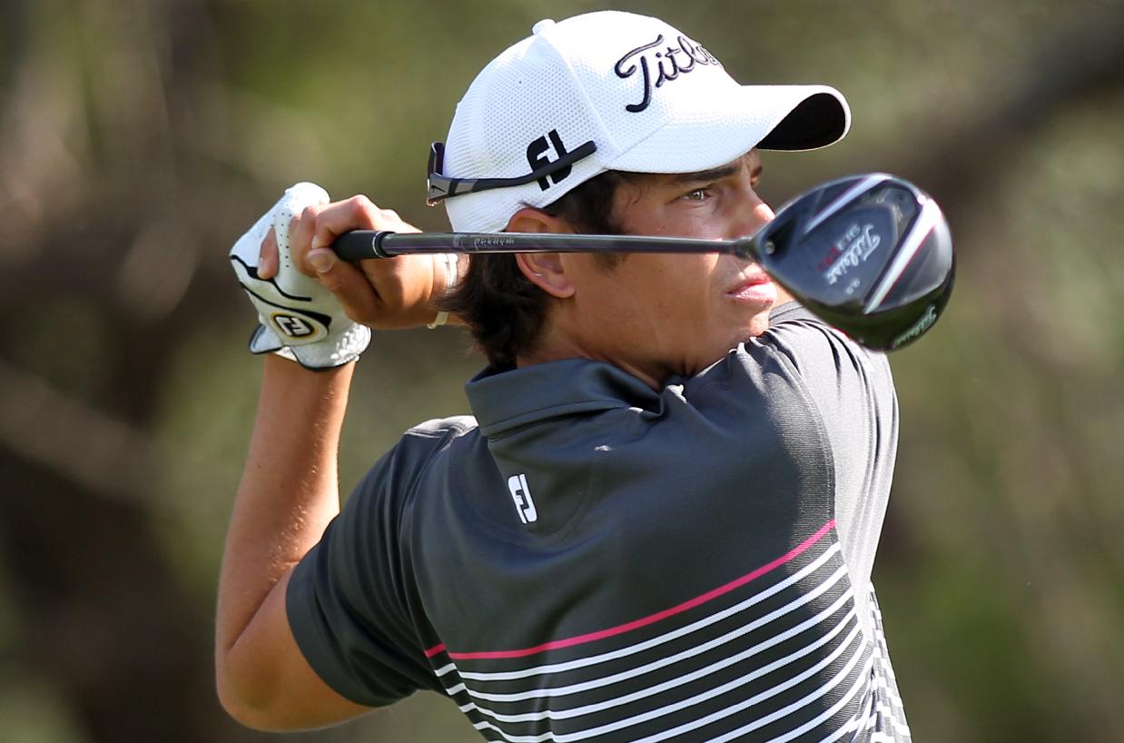 Adrien Saddier of France hits his tee shot on the16th hole during the second round of the Commercial Bank Qatar Masters at the Doha Golf Club in Doha, Qatar, Thursday, Jan. 23, 2014