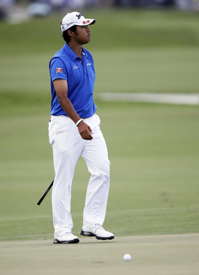 Hideki Matsuyama of Japan looks away after missing the second hole during the final round of the Cadillac Championship golf tournament Sunday, March 9, 2014, in Doral, Fla