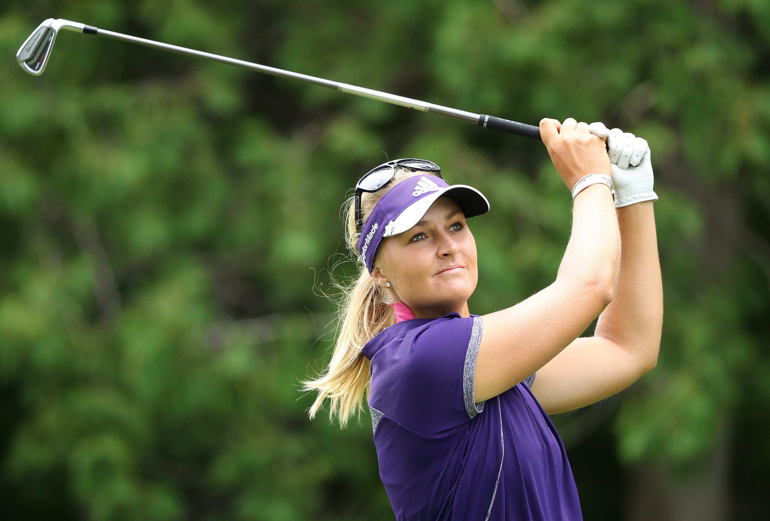 Anna Nordqvist, of Sweden, watches her tee shot on the eighth hole during final-round play at the Canadian Pacific Women's Open golf tournament in London, Ontario, Sunday, Aug. 24, 2014