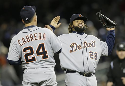 Miguel Cabrera and Prince Fielder celebrate after winning ALCS Game 1. (AP)