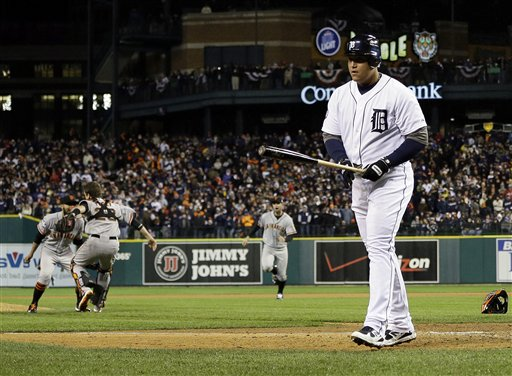 Miguel Cabrera struck out to end the World Series. (AP)