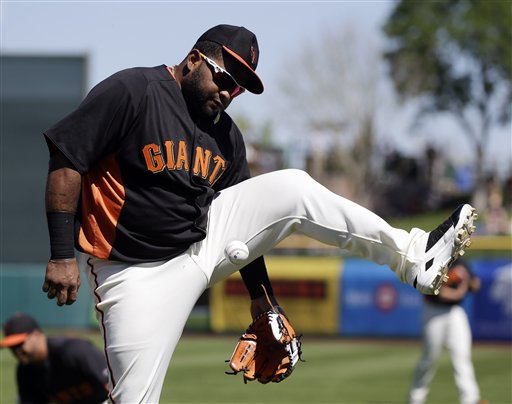 San Francisco's Pablo Sandoval might miss opening day next week with an elbow injury. (AP)