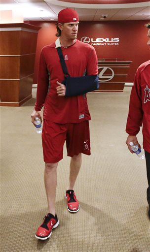 Angels pitcher Jered Weaver is expected to miss four to six weeks. (AP)