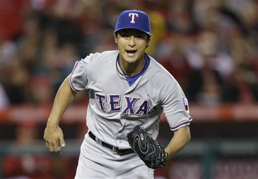 Yu Darvish struck out 11 Angels in six innings en route to a victory on Wednesday night. (AP)
