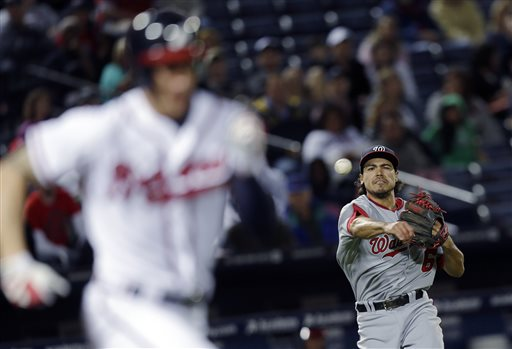 Washington Nationals third baseman Anthony Rendon throws to first to retire Atlanta Braves' Jordan Schaffer on a bunt  in the sixth inning of a baseball game Thursday, May 2, 2013 in Atlanta