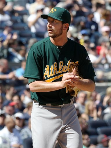 Oakland Athletics relief pitcher Jerry Blevins rubs the ball after giving up a two-run single in the sixth inning of a baseball game against the New York Yankees in New York on Sunday, May 5, 2013