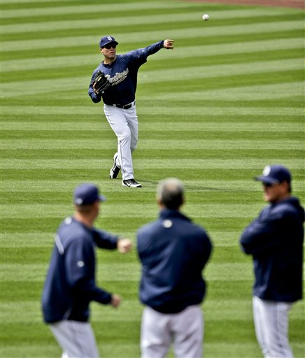San Diego Padres starting pitcher Clayton Richard, who was placed on the disabled list Sunday, throws long toss as manager Bud Black, center, and coaches watch during warmups before a baseball game against the Miami Marlins in San Diego, Monday, May 6, 2013