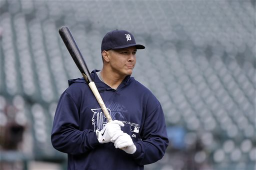 Detroit Tigers outfielder Avisail Garcia prepares for batting practice before a baseball game against the Houston Astros in Detroit, Monday, May 13, 2013. Garcia was recalled from Triple-A Toledo after center fielder Austin Jackson was placed on the 15-day disabled list Monday with a pulled right hamstring