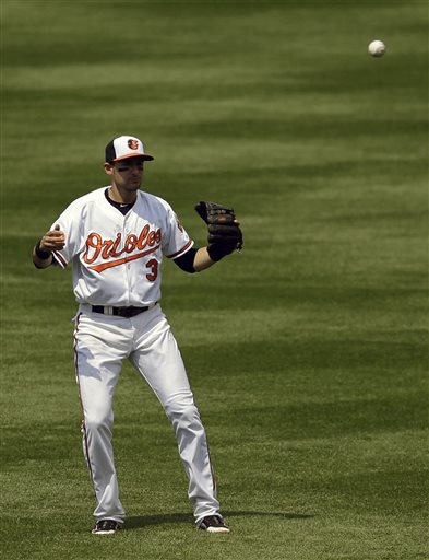 Baltimore Orioles second baseman Ryan Flaherty reacts after losing sight of a pop fly by San Diego Padres' Carlos Quentin as it falls to the ground in the sixth inning of a baseball game in Baltimore, Wednesday, May 15, 2013. Everth Cabrera scored on the play and San Diego won 8-4