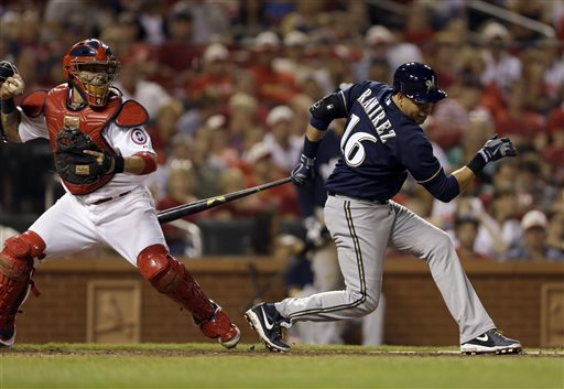 Milwaukee Brewers' Aramis Ramirez, right, strikes out swinging as St. Louis Cardinals catcher Yadier Molina throws Brewers' Ryan Braun out at second on a stolen base-attempt during the eighth inning of a baseball game on Friday, May 17, 2013, in St. Louis