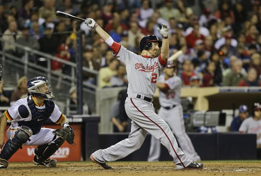 Washington Nationals' Adam LaRoche launches his second home run of the game against the San Diego Padres in the sixth inning of a baseball game in San Diego, Friday, May 17, 2013. The Padres catcher is Nick Hundley