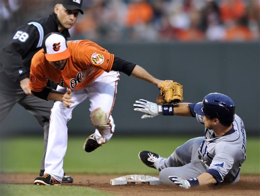 Tampa Bay Rays' Ben Zobrist, right, slides safely into second on a two-run double as Baltimore Orioles shortstop J.J. Hardy, center, reaches in during the ninth inning of a baseball game on Saturday, May 18, 2013, in Baltimore. The Rays won 10-6. Second base umpire Dan Iassogna, left, watches the play