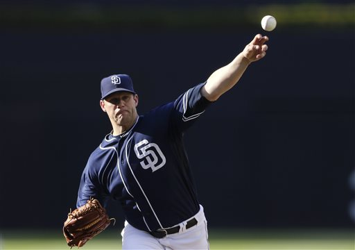 San Diego Padres starting pitcher Eric Stults throws against the Washington Nationals in the first inning of a baseball game Saturday, May 18, 2013, in San Diego