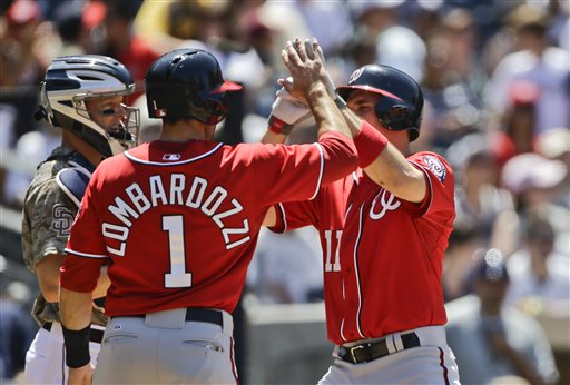Washington Nationals' Ryan Zimmerman high fives with Stephen Lombardozzi after his two-run homer in the fourth inning against the San Diego Padres during a baseball game in San Diego, Sunday, May 19, 2013