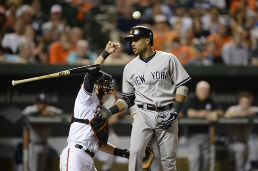 New York Yankees' Robinson Cano, right, flips his bat as he bats during the eighth inning of a baseball game as Baltimore Orioles catcher Matt Wieters, left, returns the ball to the mound, Tuesday, May 21, 2013, in Baltimore. The Orioles won 3-2 in ten innings