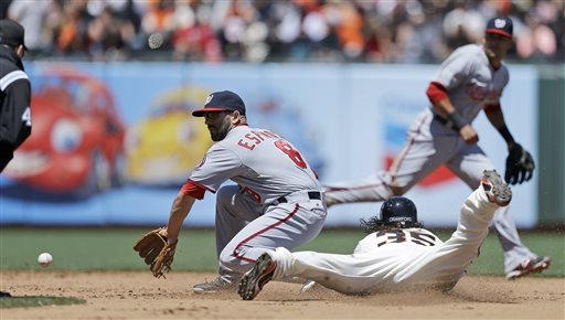 San Francisco Giants' Brandon Crawford (35) steals second as Washington Nationals second baseman Danny Espinosa fields the late throw in the fifth inning of a baseball game Wednesday, May 22, 2013, in San Francisco