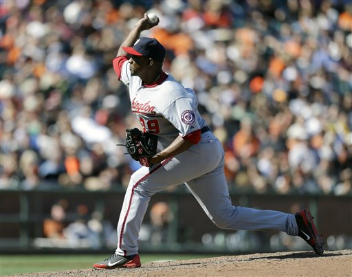 Washington Nationals' Rafael Soriano works against the San Francisco Giants in the 10th inning of a baseball game on Wednesday, May 22, 2013, in San Francisco