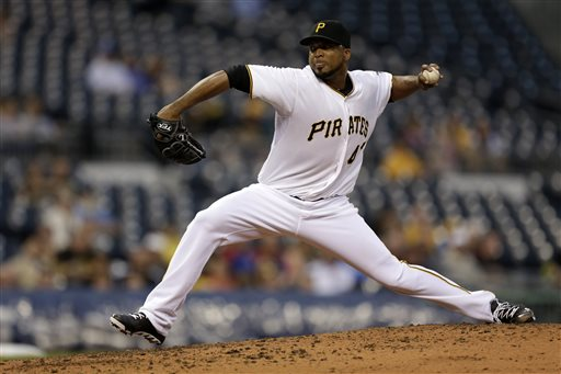 Pittsburgh Pirates starting pitcher Francisco Liriano delivers during the fourth inning of a baseball game against the Chicago Cubs in Pittsburgh, Wednesday, May 22, 2013