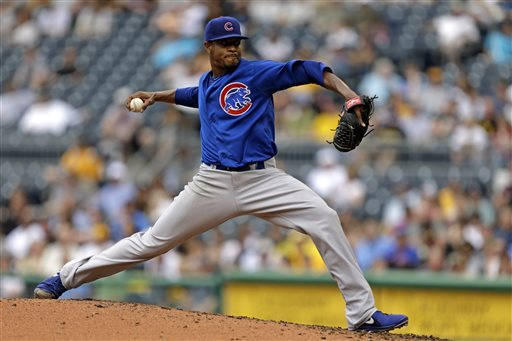 Chicago Cubs starting pitcher Edwin Jackson (36) delivers during the third inning of a baseball game against the Pittsburgh Pirates in Pittsburgh, Thursday, May 23, 2013