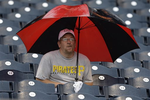Mike Troupe, of Dubois, Pa., sits through a rain delay during a baseball game between the Pittsburgh Pirates and Chicago Cubs at PNC Park in Pittsburgh, Thursday, May 23, 2013