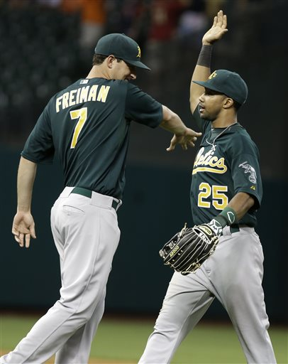 Oakland Athletics' Nate Freiman (7) and Chris Young (25) celebrate their 6-5 win over the Houston Astros in a baseball game, Friday, May 24, 2013, in Houston