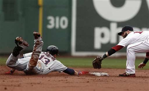 Cleveland Indians' Asdrubal Cabrera (13) slides into second safely as Boston Red Sox second baseman Dustin Pedroia reaches to tag him during the third inning of a baseball game at Fenway Park in Boston Saturday, May 25, 2013
