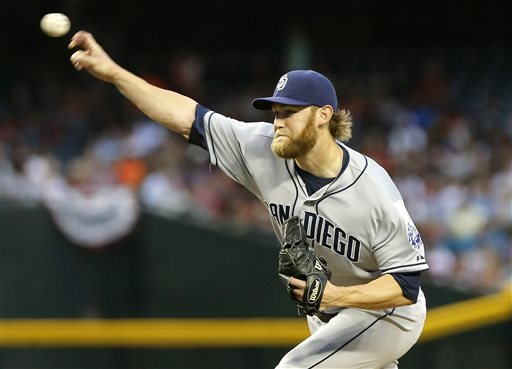 San Diego Padres pitcher Andrew Cashner delivers against the Arizona Diamondbacks during the first inning of a baseball game on Saturday, May 25, 2013, in Phoenix