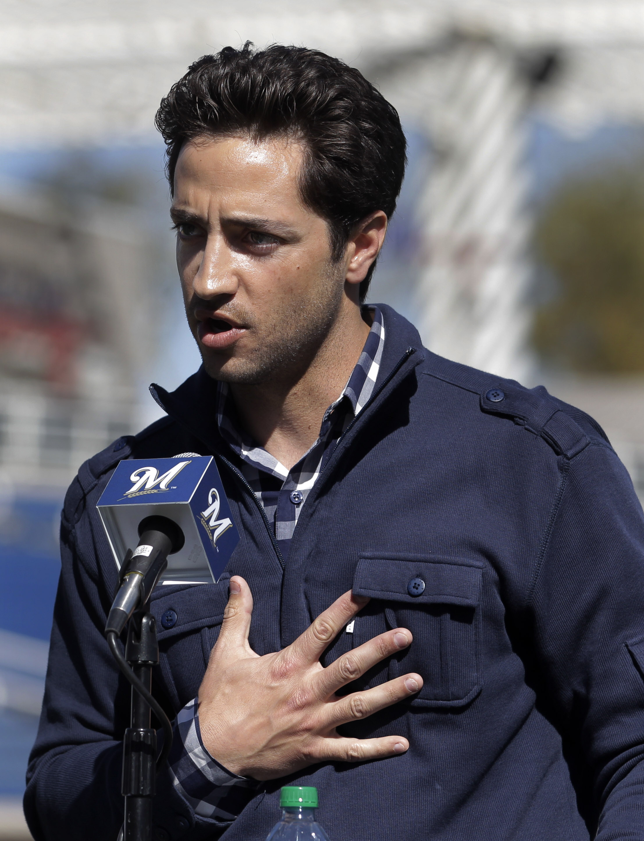 Ryan Braun, making a staunch denial of PED use in 2012 spring training. (AP)