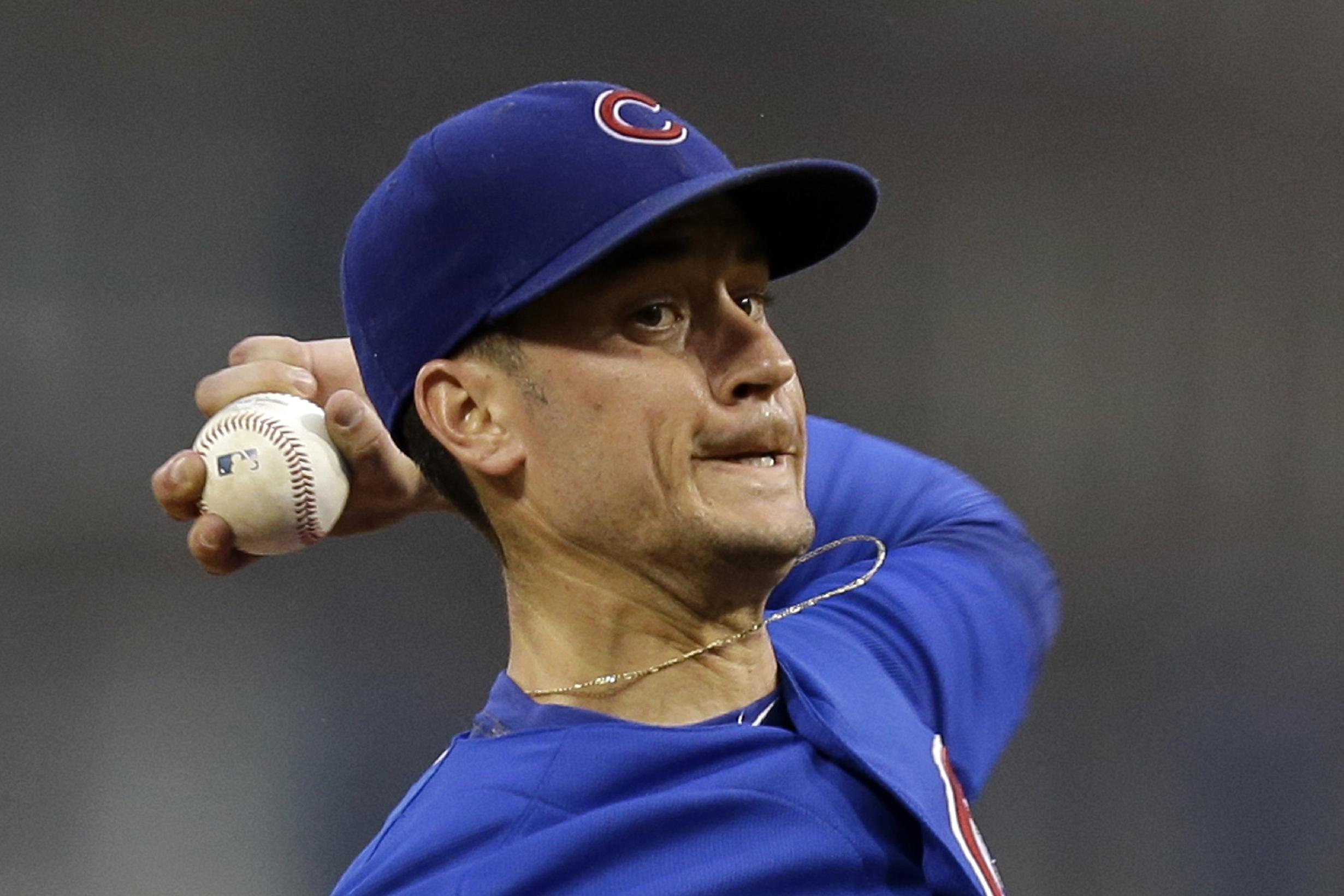 Chicago Cubs starting pitcher Chris Rusin delivers during the first inning of a baseball game against the Pittsburgh Pirates in Pittsburgh, Thursday, Sept. 12, 2013