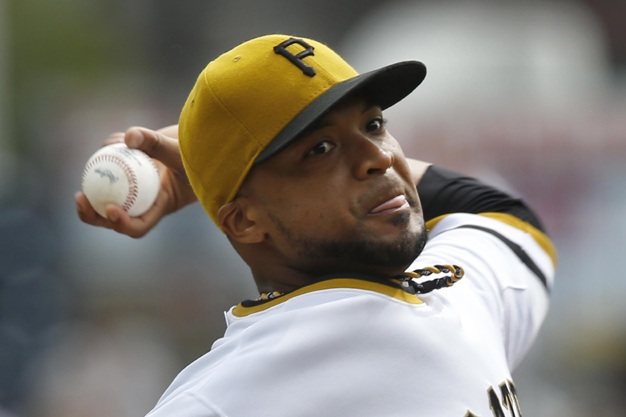 Pittsburgh Pirates starting pitcher Francisco Liriano throws against the Chicago Cubs in the first inning of a baseball game on Sunday, Sept. 15, 2013, in Pittsburgh