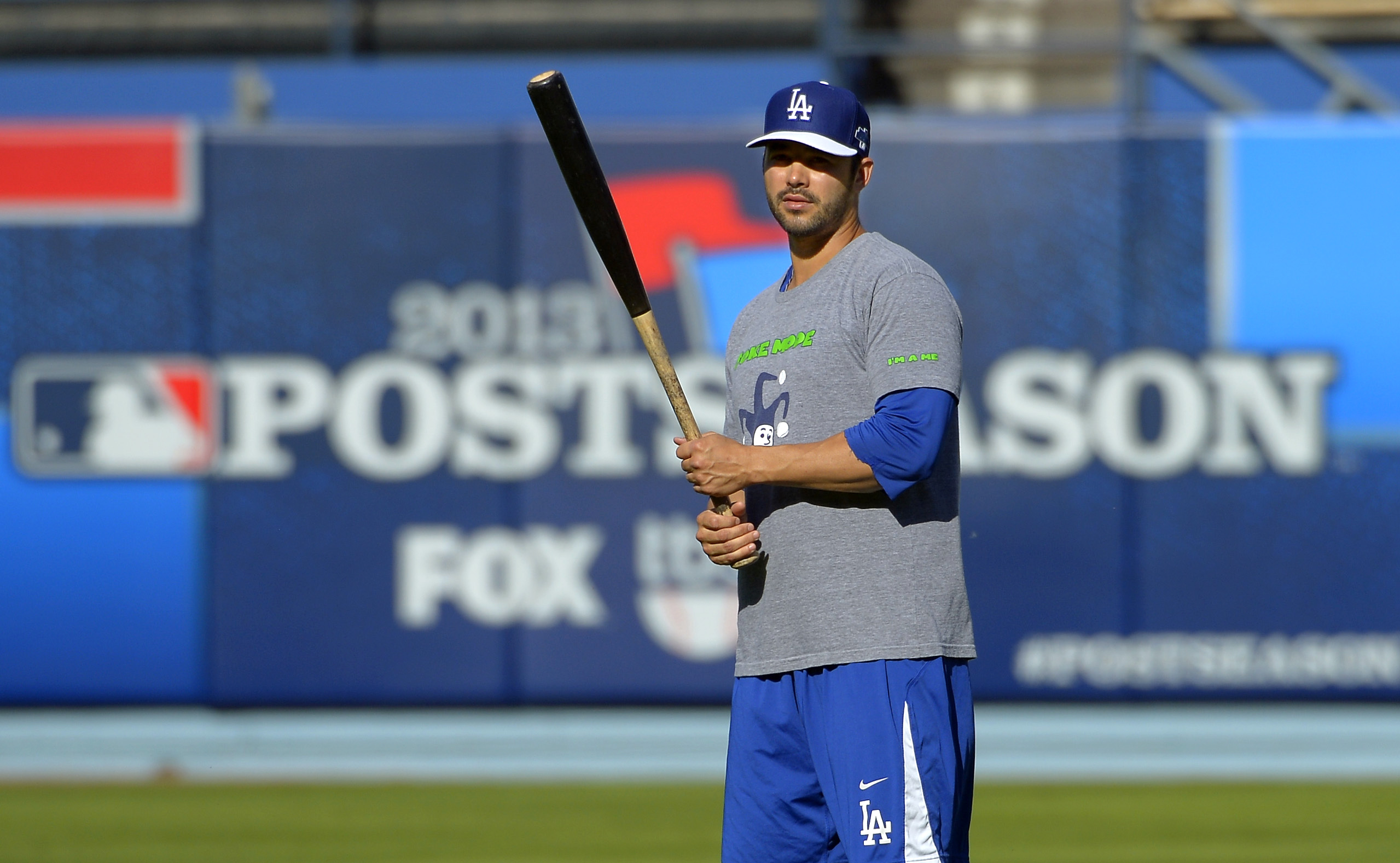Los Angeles Dodgers' Andre Ethier warms up during practice in preparation for Game 3 of the National League baseball division series against the Atlanta Braves, Saturday, Oct. 5, 2013, in Los Angeles