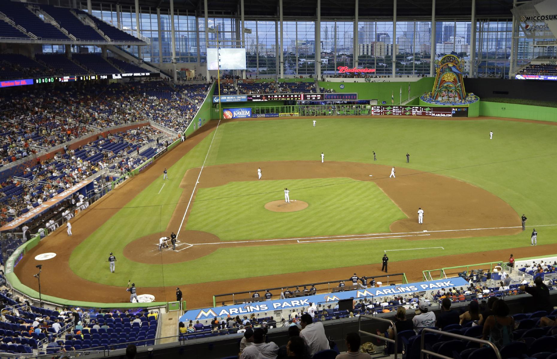 The Miami Marlins and Atlanta Braves play a baseball game at Marlins Park,Tuesday, July 9, 2013 in Miami. Hitters grouse that homers are tough to come by at Marlins Park. Through Monday, the Marlins ranked last in the majors with 53 homers, but they had a respectable 36 on the road, with only 17 at home