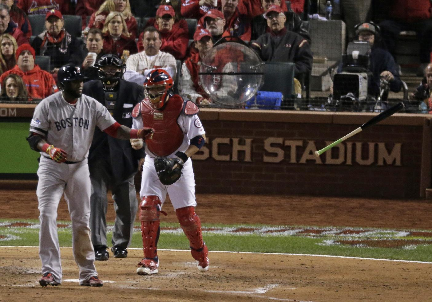 Boston Red Sox's David Ortiz tosses his bat after being walked during the sixth inning of Game 4 of baseball's World Series against the St. Louis Cardinals Sunday, Oct. 27, 2013, in St. Louis