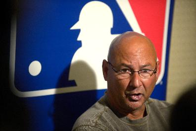 Cleveland Indians manager Terry Francona talks to reporters during a media availability at baseball's winter meetings in Lake Buena Vista, Fla., Wednesday, Dec. 11, 2013