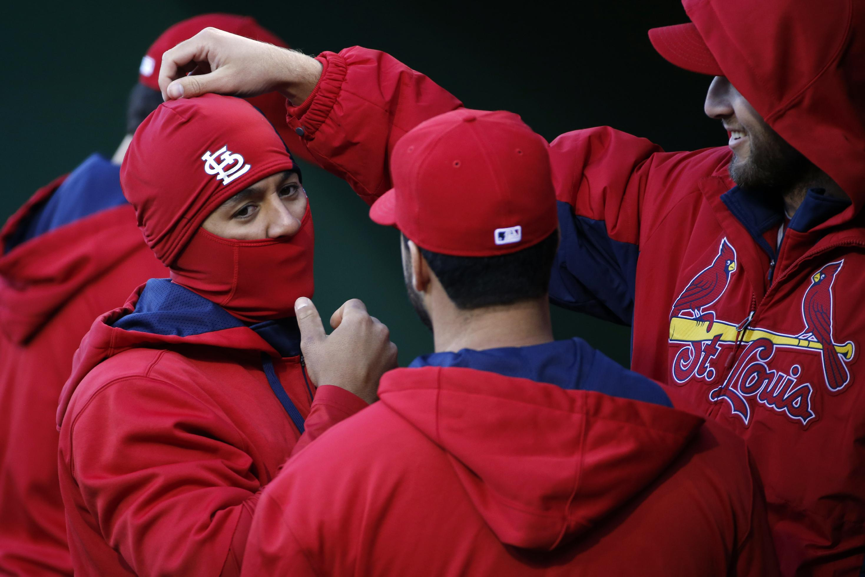 St. Louis Cardinals starting pitcher Michael Wacha, right, and Jon Jay, left, play around in the dugout before a baseball game against the Pittsburgh Pirates in Pittsburgh on Saturday, April 5, 2014. The Cardinals won 6-1